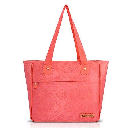 Bolsa Shopper Damasco Com Bolso Salmão Jacki Design