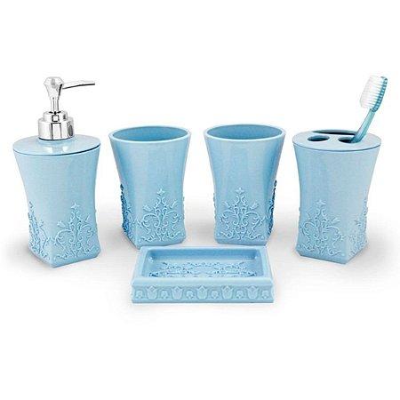 Conjunto de Banheiro Lifestyle com 5 Peças azul Jacki Design