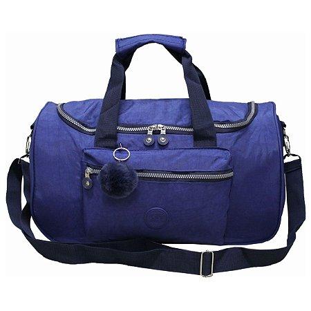 Bolsa de Viagem Grande com Bolso e Pompom Azul Cruzeiro