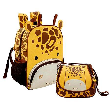 Mochilinha com Lancheira Térmica Mini Zoo Girafinha Colorizi