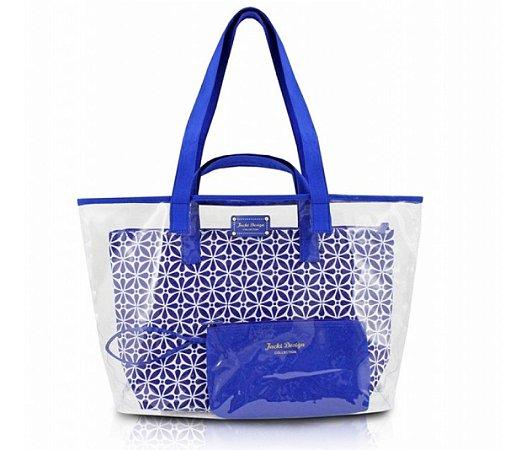 Kit de Bolsa 3 em 1 Geométrica 2 Bolsas 1 Porta Níquel Azul