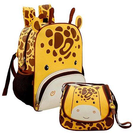 Mochila Infantil com Lancheira Térmica Zoo Girafinha