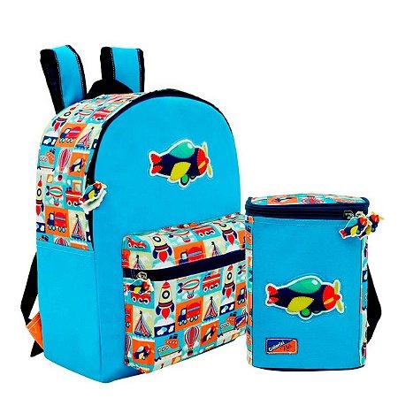 Mini mochila com Lancheira Térmica Adventure Kids Colorizi