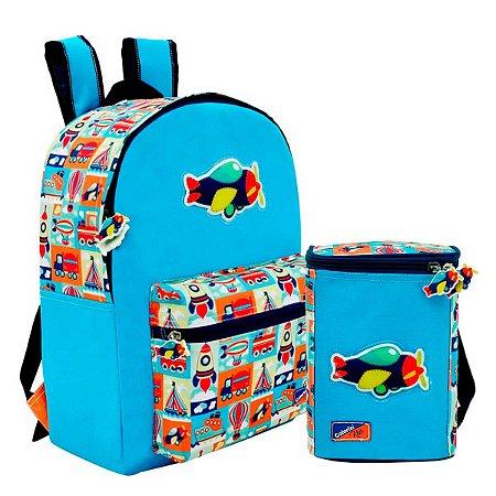 Mochila c/ Bolso e Lancheira Térmica Adventure Kids Colorizi