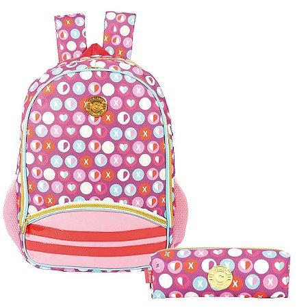 Mochila Escolar com Estojo Marshmallow Colorizi