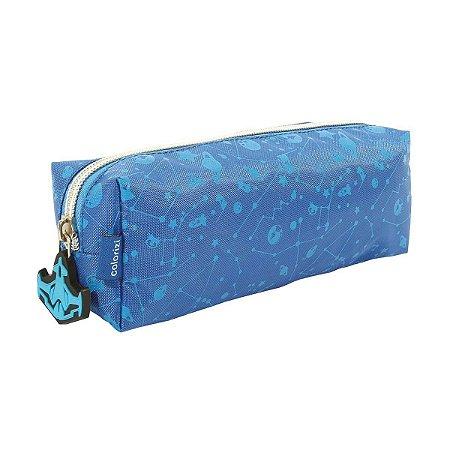 Estojo Escolar com 1 divisão Azul Space Colorizi