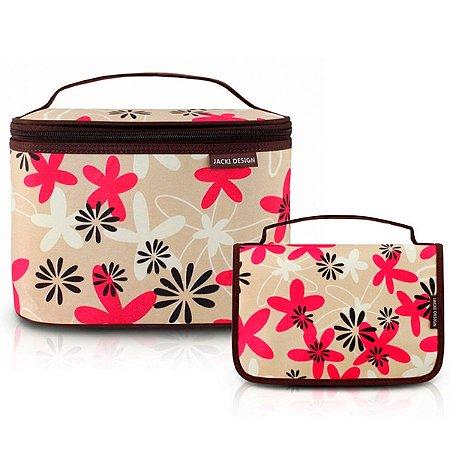 Conjunto com Necessaires de Viagem Floral marrom Miss Douce Jacki Design