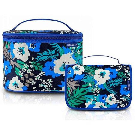 Duas Necessaires Viagem Floral azuis Miss Douce Jacki Design