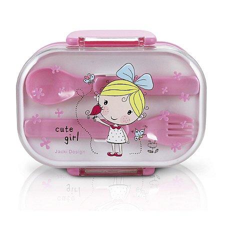 Pote Para Lanche duplo Escolar Cute rosa Jacki Design
