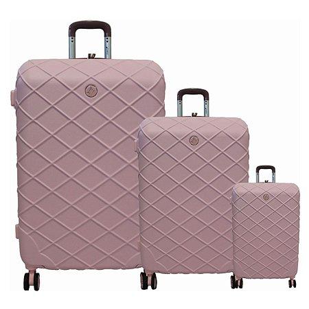 Kit com 3 malas Funchal Cruzeiro em abs 2 cores Rosa e Rosê