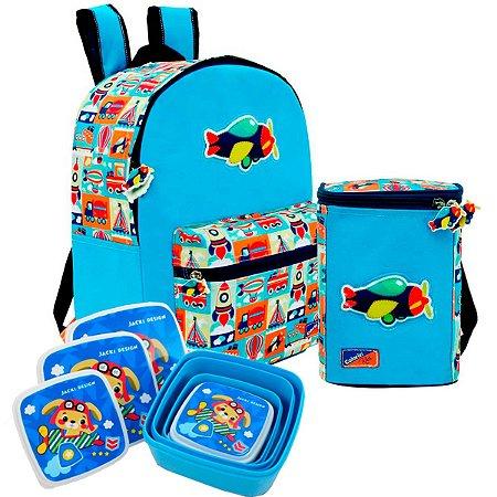 Mini Mochila com Lancheira e Potes Adventure Kids Colorizi