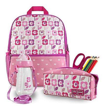 Conjunto Mochila Infantil Menina Escolar Flor rosa