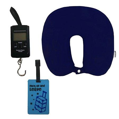 Kit com Almofada de Pescoço Azul, Balança e Tag para Mala