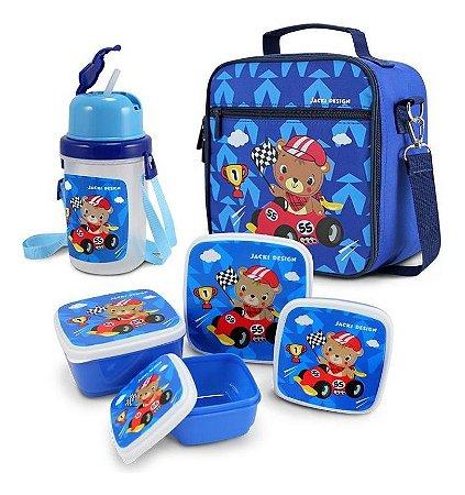 Kit com lancheira potes e garrafa infantil urso filhotinhos