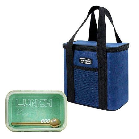 Bolsa Térmica Urbano azul - alça de mão e marmita ecológica