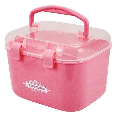 Caixa Organizadora P rosa Com Alça e Trava Jacki Design