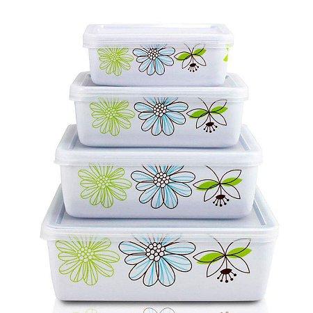 Pote  Marmita Para Alimentos De 4 Pçs Jacki Design verde