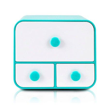 Caixa Organizadora Com 3 Gavetas Azul Jacki Design