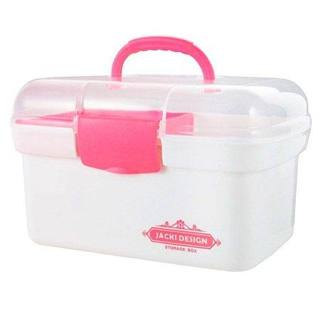 Caixa Organizadora pequena Jacki Design transparente rosa