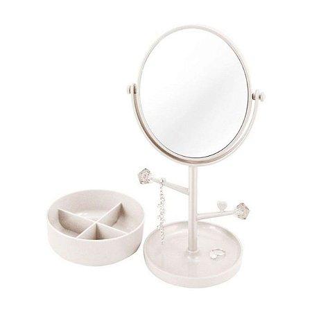 Espelho de mesa branco com aumento Porta Jóias Jacki Design