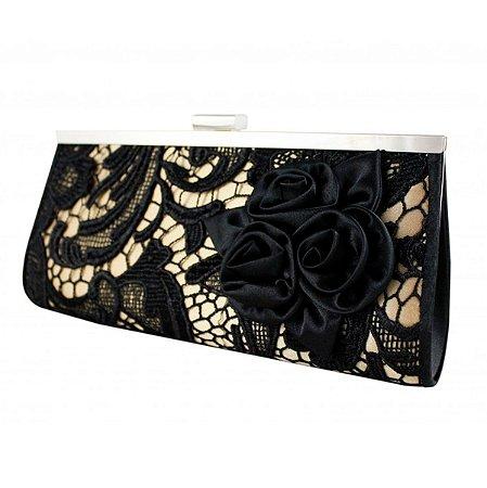 Bolsa de festa rendada bege com preto Jacki Design