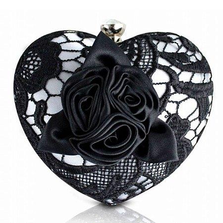 Bolsa de Festa de Coração em rendas prata Jacki Design