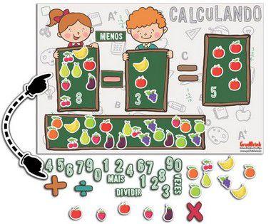 Cartaz para Sala de Aula  quatro Operações com Frutas