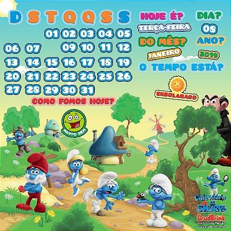 Cartaz Para Sala De Aula Calendário Smurfs