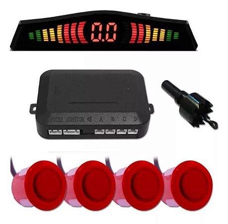 Sensor de Estacionamento 4 pontos com Display Led Vermelho