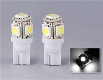 Par de Lâmpadas LED T10 5 Leds torre Branco