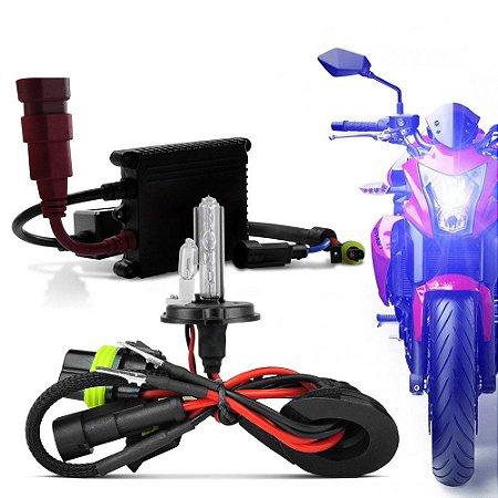 Kit Xenon Moto H4-2 8000K Completo com Reator Slim e Lampada