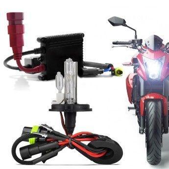 Kit Xenon Moto H4-2 6000K Completo com Reator Slim e Lampada