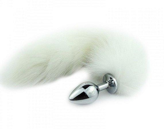 Plug Anal com Cauda Rabo de Raposa Aço Inoxidável  Branco