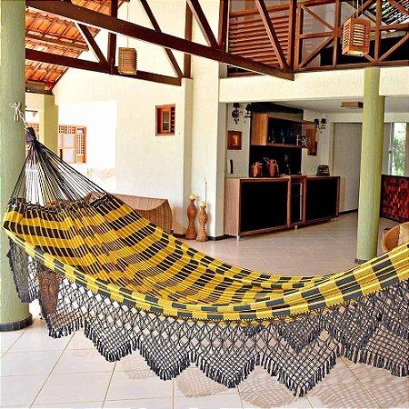 Rede de Dormir Casal king Amarelo com Preto