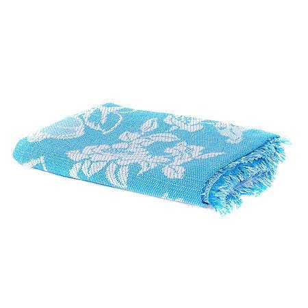 Cobertor Casal King Azul com Branco 100% Algodão