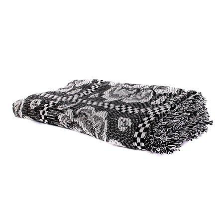 Cobertor Casal King Preto com Branco 100% Algodão