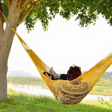 Rede de Dormir e descanso Camping Nylon Impermeável Tarrafa Amarela