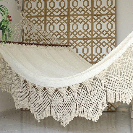 Rede de Dormir Casal Ostra Bege com Madeira
