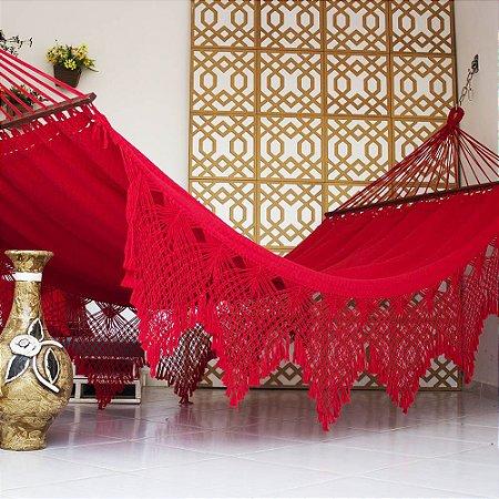 Rede de Dormir Casal Ostra Vermelha com Madeira