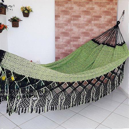 Rede de Dormir Casal Flor do Sertão Preto com Verde