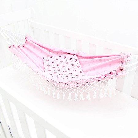 Rede de Dormir para Berço Rosa - Coroa Imperial