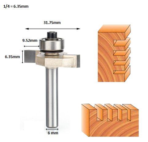 Fresa T Serrinha Debrum Com Rolamento 6mm X 1/4 ( Perfil T)