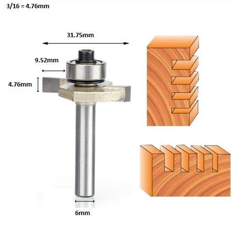 Fresa T Serrinha Debrum Com Rolamento 6mm X 3/16 ( Perfil T)
