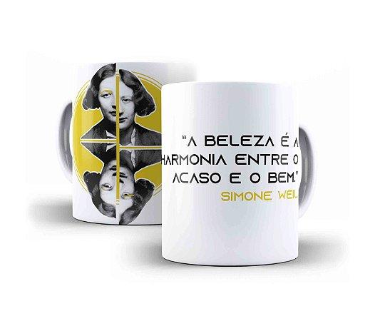"""Caneca Simone Weil """"A Beleza É A Harmonia Entre O Acaso E o Bem"""""""