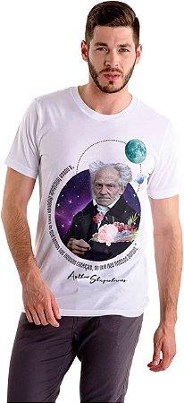 """Camiseta Schopenhauer """"A Nossa Felicidade Depende Mais do Que Temos Nas Nossas Cabeças do Que Nos Nossos Bolsos"""""""