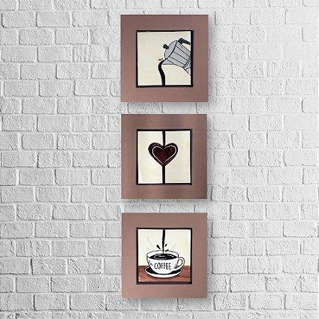 Kit de Quadros Decorativos para Cozinha I Love Coffee