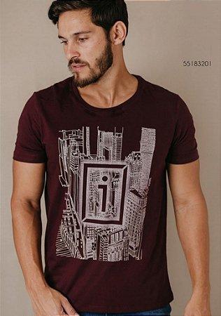 Camiseta Presidium manga curta DNA estampada Bordô