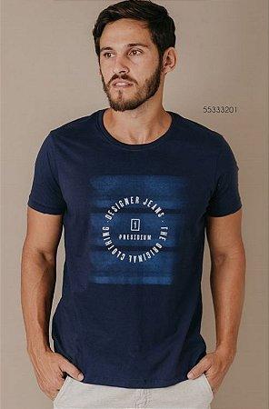 Camiseta Presidium manga curta estampada azul marinho