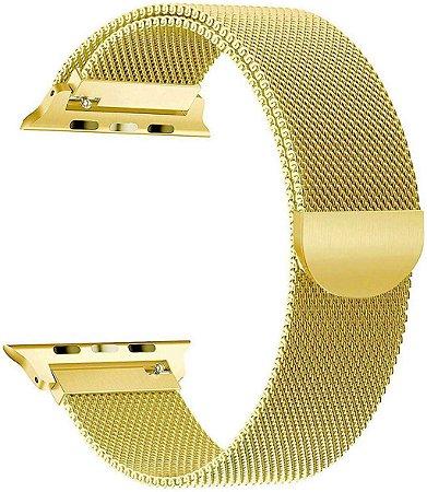 Pulseira Estilo Milanês Magnética Para Apple Watch 42/44mm - Gold