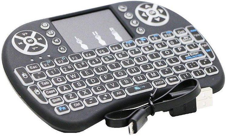 Mini Teclado Iluminado Air Mouse Touch Wireless 3 Cores Led